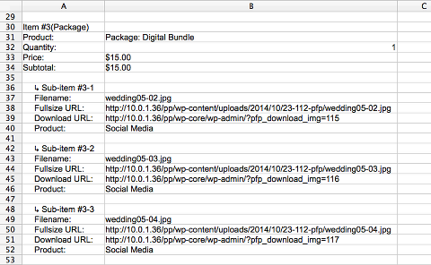 packages are also clearly visible in admin spreadsheet report form
