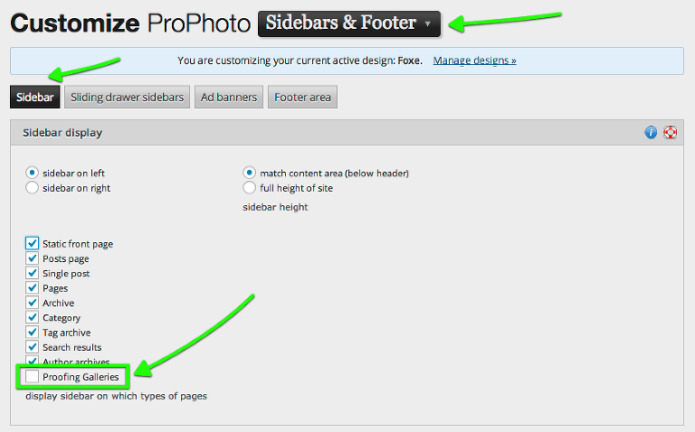 turn on/off optional areas for all Proofing galleries from standard ProPhoto customization areas