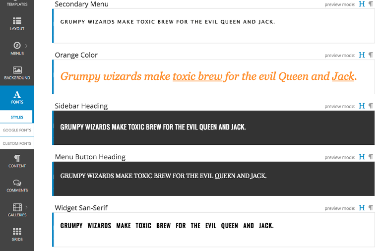 font-styles-example