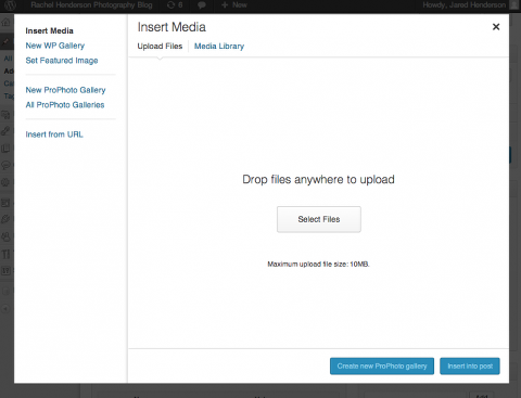 Uploading media screen