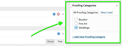 proofing galleries can now be placed in categories, like blog posts