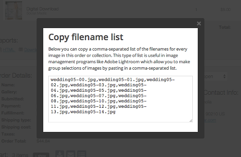 all filenames from order or collection in comma-separated list for use in Lightroom