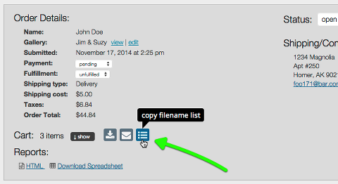 copy filename list button in admin orders screen