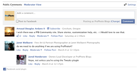 Facebook Comments and What's Next » ProPhoto
