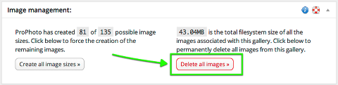 click here to delete every image size from your server, freeing up the space again