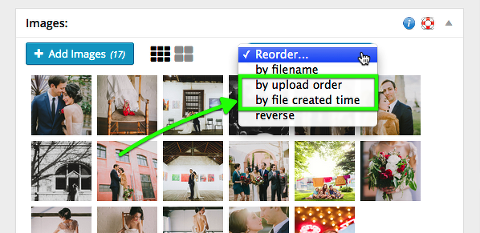 two new ways of re-ordering images: by upload order, and by file creation time